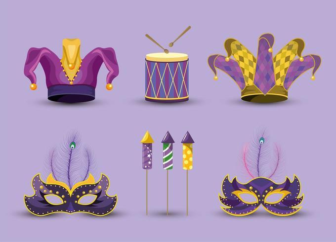 Setze Jokerhut mit Masken und Trommel auf Karneval vektor