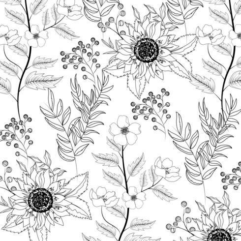 exotische Sonnenblumen mit Niederlassungen verlässt Hintergrund vektor