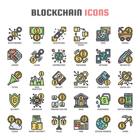 Blockchain dünne Linie Icons vektor