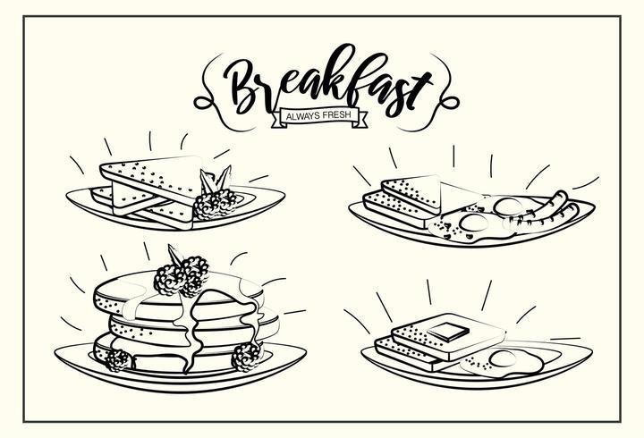 Set leckeres Frühstück mit Proteinanteil vektor