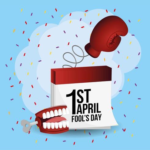 boxningshandske med kalender en fanny tänder vektor