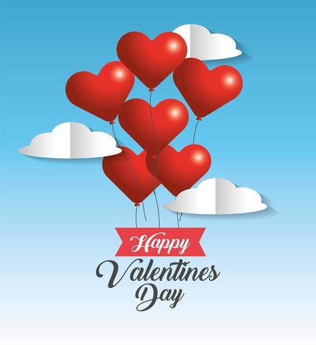 Herz steigt Dekoration zum Valentinsgrußereignis im Ballon auf vektor