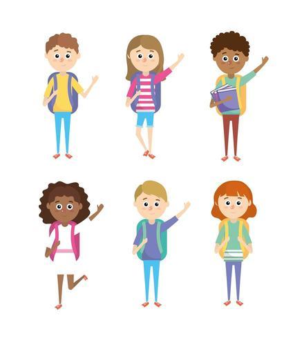 ställa in flickor och pojkar elever med skolutrustning vektor