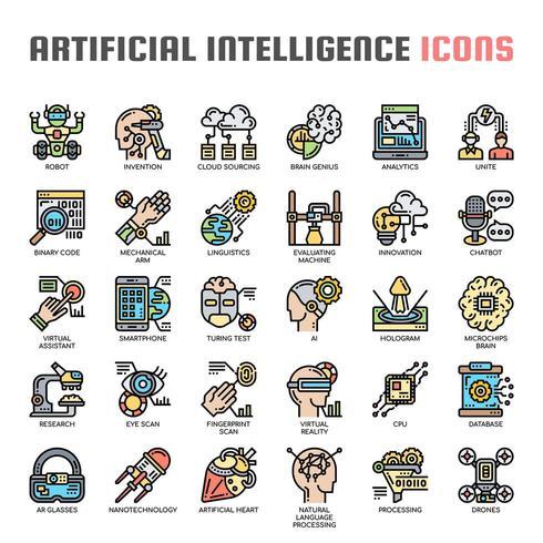 Konstgjord intelligens tunn linje ikoner vektor