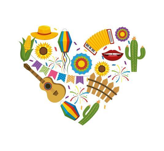 herz mit festa junina dekoration zum feiern vektor
