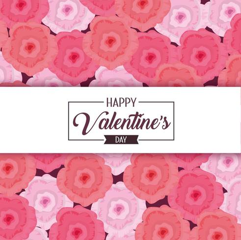 Blumendekoration zum glücklichen Valentinstag vektor