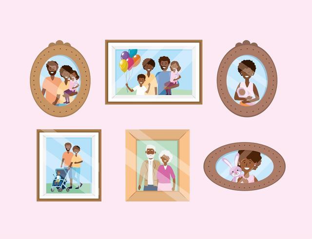 uppsättning porträtt med familjebilder minnen vektor