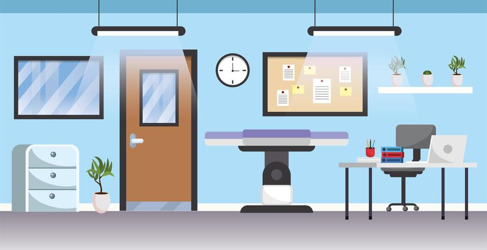 professionelles Krankenhaus mit medizinischer Bahre und Schreibtisch vektor