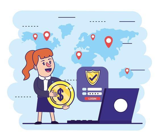 Frau mit Münze und Lectronic Laptop mit Schild vektor