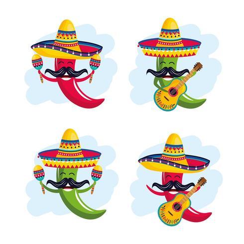 Set Chilischoten mit Hut mit Maracas und Gitarre vektor