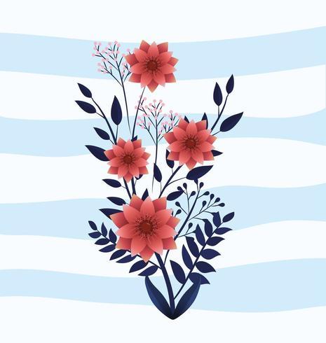 söt natur blommar växter med blad vektor