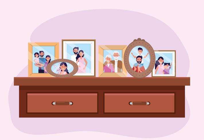 bjuda på med familjebilder minnen i byrån vektor