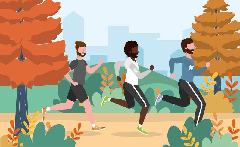 Männer, die Trainingsübungsaktivität laufen lassen vektor