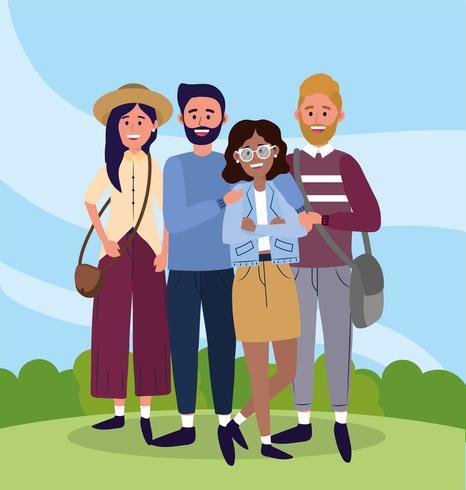 universitetskvinna och män vänner med väskor vektor