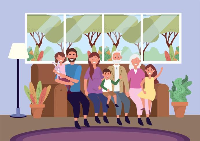 morföräldrar med kvinna och man med barn i soffan vektor