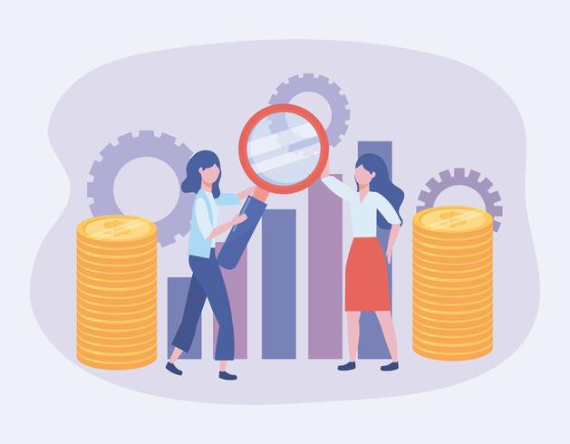 Geschäftsfrauen mit Lupe und Statistikleiste vektor