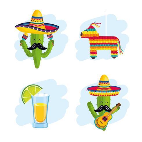 ställa in mexikansk traditionell dekoration till evenemangsfirande vektor