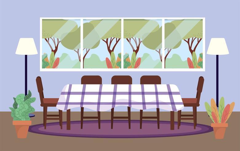 dykrum med bord och växter dekoration vektor