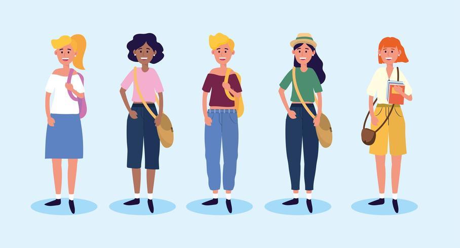Set Universitätsfrauen mit Freizeitkleidung und Taschen vektor