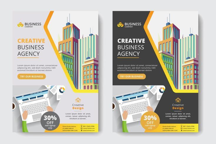 Firmenkundengeschäft-Schablone mit Büroangestellter und Gebäude vektor