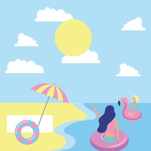 sommartid med flickor som flyter i havet på en solig dag vektor
