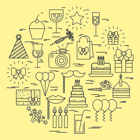 födelsedag- och festikonsamling vektor