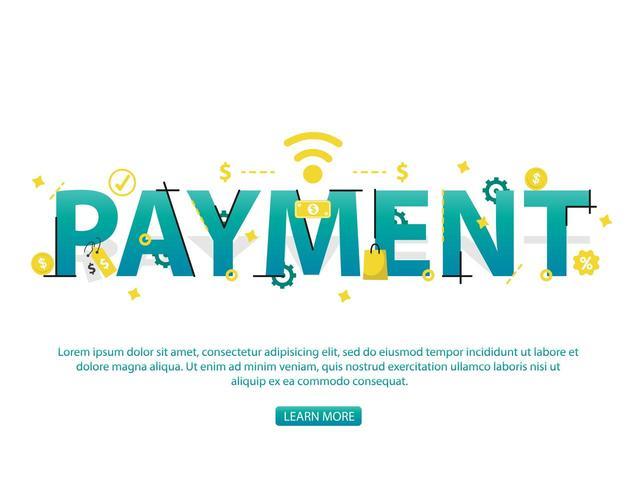 Kontaktloses Zahlungskonzept mit Zahlungstext und -ikonen vektor