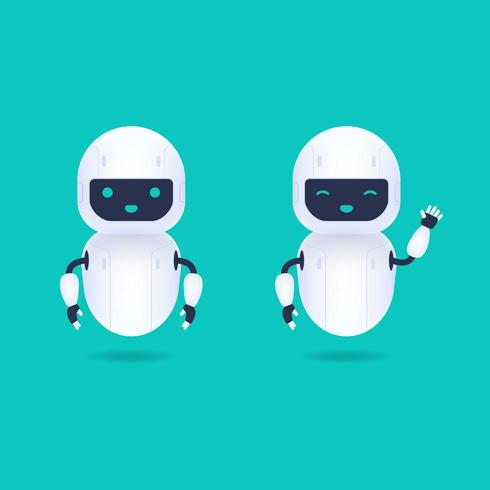 Vita vänliga Android-robotkaraktärer vektor