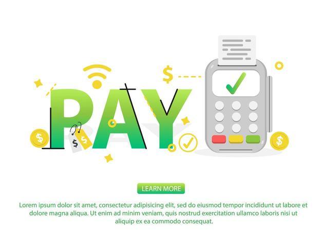 Kontaktloses Zahlungskonzept mit Textlohn, Ikonen und Kreditkartemaschine vektor