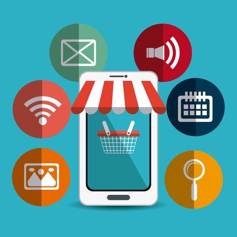Shopping, e-handel och marknadsföring vektor