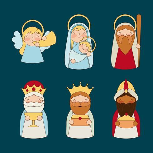 Krippe Dreikönigstag Weihnachten Zeichensatz vektor