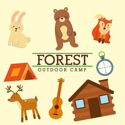 skog utomhusläger vektor
