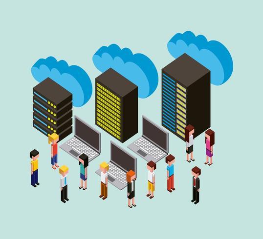 folk cloud computing lagring vektor
