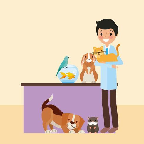 Veterinär med djur vektor