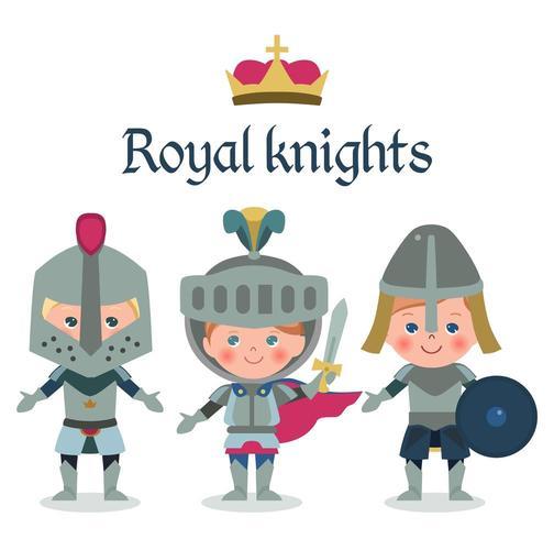 Märchen-Comic-Figuren. Fantasy Knights Boys. vektor