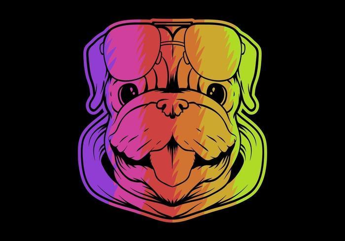 färgglada mops hund huvud vektor