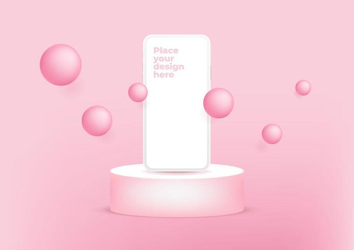 Smartphone des leeren Bildschirms auf Podium für Produktpräsentation oder Schaukasten auf rosa Hintergrund. vektor