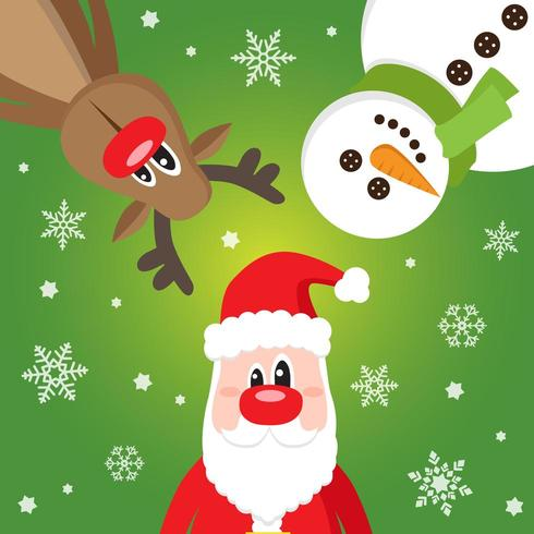 God julkort med med jultomten, snögubbe och rådjur vektor