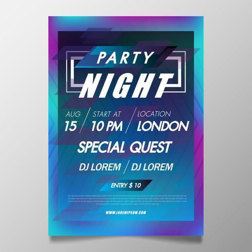 Musikfestivalsaffischmall, färgglad nattklubbfestreklamblad vektor