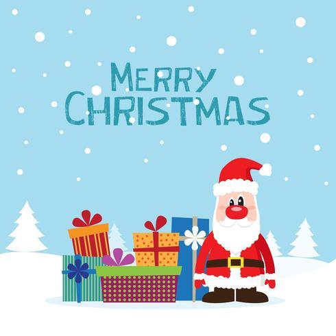 Weihnachtskarte mit Santa Claus und Geschenken auf dem Schnee vektor