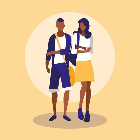 unga svarta par modellerar med handväskor vektor