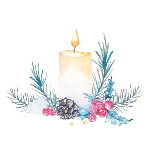 Akvarell julstearinljus vektor