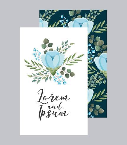 elegante Hochzeitskarte blüht aufwändige Dekoration vektor