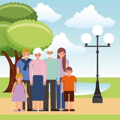 morföräldrar och föräldrar med barn i parken vektor