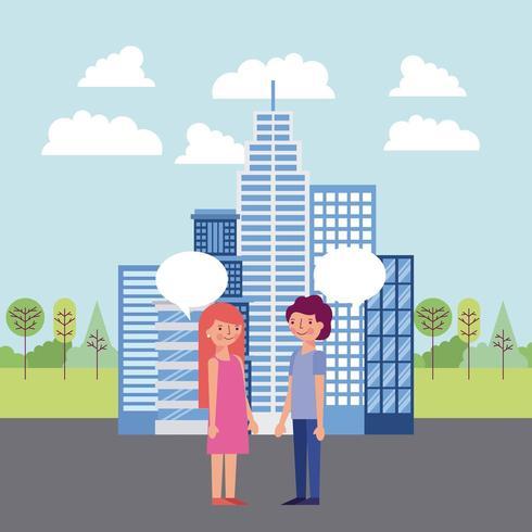 Paare, die Gespräch in der Stadt haben vektor