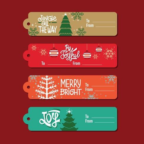 Långa juletiketter vektor