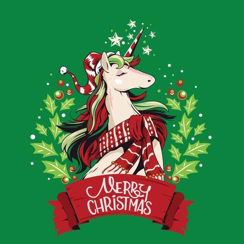Santa Unicorn Frohe Weihnachten vektor