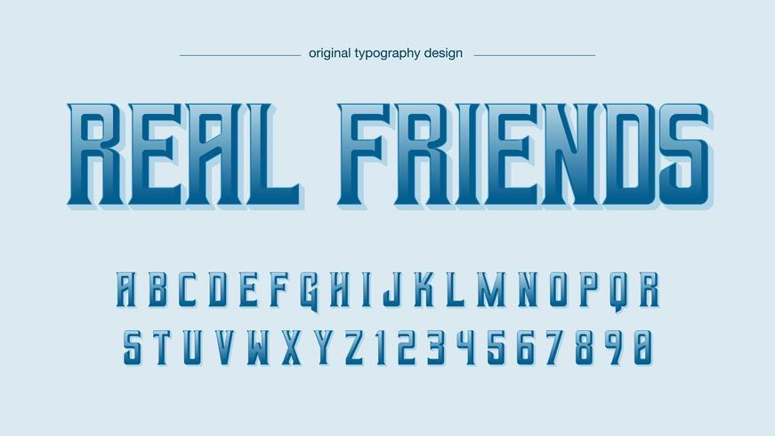 Blauer Großbuchstaben-Anzeigen-Typografie-Entwurf vektor