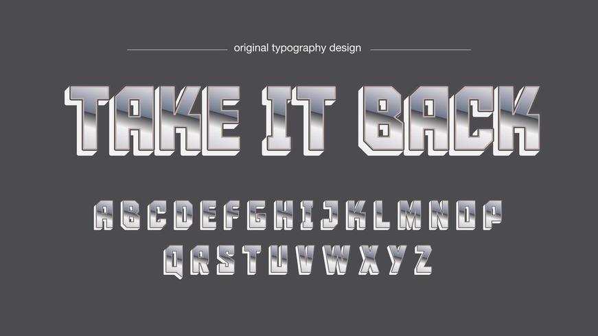 Chrome Sports Großbuchstaben-Typografie-Design vektor