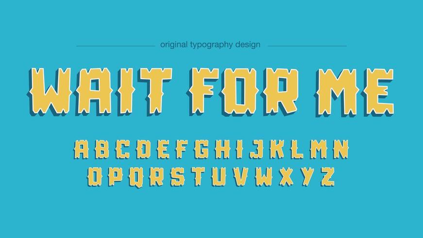 Gelber Cartoon-Comics-Spaß-Typografie-Entwurf vektor